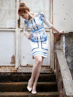 Baroque style pencil dress / Barok desenli, kalem elbise www.gigidukkan.com