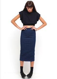 Buy Motel Bronte High Waisted Midi Denim Skirt in Rinse Wash at Motel Rocks