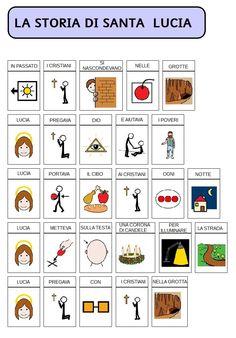 comuniCAAzione: La storia di santa Lucia Santa Lucia, Learning Cards, Learning Italian, Winter Time, Italian Language, Christians, Learn Italian Language, Saint Lucia