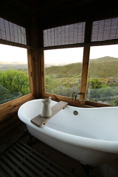A romantic mountain lodge in the tranquil mountains of the Overberg, South Africa Lodge Bathroom, Eco Cabin, Lawn And Landscape, Weekends Away, Wedding Album, Africa Travel, Countries Of The World, Lodges, Glamping