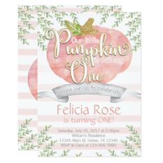 Pink Pumpkin Birthday Party Invitation Invite - baby gifts child new born gift idea diy cyo special unique design