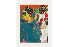 'Gossiping' - Thota Vaikuntam's Serigraph in 56 Colours. Famous Indian Artists, Gond Painting, Paintings For Sale, Female Characters, Colours, Artwork, Prints, Work Of Art, Auguste Rodin Artwork