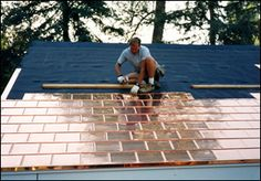 Copper Roofing Shingles - Paradigm Shingles, Inc. - I wonder if its cheaper than the slate roof we have now. If/when the day comes I need to do extensive repairs this might be an alternative option Roofing Services, Roofing Contractors, Copper Roof, Metal Roof, Timber Roof, Steel Roofing, Roofing Shingles, Flat Roof Repair, Slate Roof
