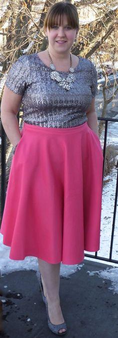 sequin top, pink midi skirt