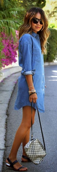 The Women Long Sleeve Denim Dress is made of spandex. Its pattern is solid and the style is casual. Material: Spandex Waistline: Natural Neckline: Turn-Down Collar Silhouette: Straight Pattern Type: Solid Style: Casual Note: Please allow 2 to 4 Look Fashion, Denim Fashion, Fashion Women, Dress Fashion, Fashion 2016, Fashion Clothes, Modern Fashion, Spring Fashion, Fashion Online