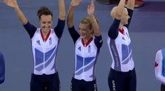Olympic Champions Dani King, Laura Trott and Joanna Rowsell Joanna Rowsell, Dani King, Olympic Champion, Olympics, Cycling, Female, Inspiration, Biblical Inspiration, Biking