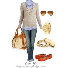 Button-up shirt, sweater, flats, long necklaces.