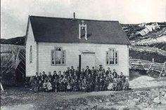A one room schoolhouse in the village of Bacon Cove, Conception Bay, Newfoundland in Newfoundland Canada, Newfoundland And Labrador, Schooldays, Wild Weather, Atlantic Canada, Prince Edward Island, New Brunswick, Conception, Nova Scotia