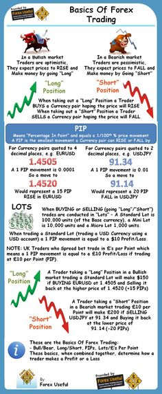 Basics Of Forex Trad     Basics Of Forex Trading - This infographic provides the Basics Of Forex Trading by defining, Bull/Bear, Long/Short, PIPs, Lots/£'s Per Point and then showing how , when combined together, these basics determine how a trader makes a Profit or a Loss
