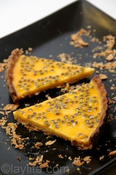 Maracuya (Passion Fruit) Tart | The great thing about this tart is that you can make even without fresh passion fruit, you can use the frozen concentrate for the filling and it works perfectly. Most Latin grocery stores sell frozen passion fruit pulp, this list of Latin food resources might help if you are looking for places to purchase it. | From: laylita.com