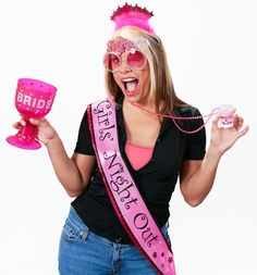 Bachelorette Bride to Be Accessory Kit - Includes a satin sash, tiara, hot pink bride goblet, party beads with shot glass, and diamond ring fun glasses. One or more of the items included in this favor kit may be substituted with an item of similar quality due to availability.