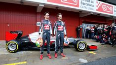 Romain Grosjean (FRA) Haas F1 and Esteban Gutierrez (MEX) Haas F1 with the Haas VF-16 at Formula One Testing, Day One, Barcelona, Spain, Monday 22 February 2016. © Sutton Motorsport Images