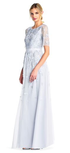 Adrianna Papell   Floral Sequin Beaded Gown with Sheer Short Sleeves