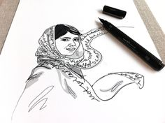 "Work in progress, Malala Yousafzai. -""Wall of Femme"" is a series of portraits of five strong and inspiring women by Illustrator Christina Heitmann. See more images and read the full stories behind each of these amazing women (Amelia Earhart, Malala Yousafzai, Simone de Beauvoir, Xinran Xue, Agnes Pareyio)  on https://www.behance.net/gallery/Wall-of-Femme/15382065 #rolemodel #brave #women #illustration #illustrations #drawing"