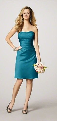 more typical bridesmaid dress, but it still looks pretty! ALFRED ANGELO TEAL  BRIDESMAID DRESS