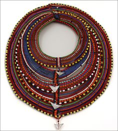 "virtual-artifacts: "" Beaded collar from the Maasai, Kenya. Glass beads, metal string, and metal. Ethnic Jewelry, African Jewelry, Bohemian Jewelry, Beaded Jewelry, Jewellery Bracelets, Dress Jewellery, Fancy Jewellery, African Necklace, African Beads"