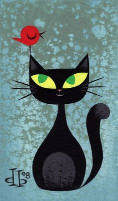 Illustration by Drake Brodah.this would make a fab cat quilt Cat Quilt, Crazy Cats, Rock Art, Cat Art, Painted Rocks, Art Projects, Artsy, Quilts, Drawings