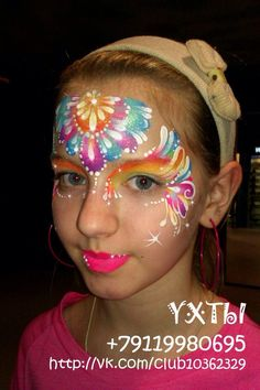 Tatyana Aguagrim    beautiful colorful one stroke design face painting ideas for kids