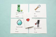 Minecraft Kids Valentines - Set of 12. $8.00, via Etsy.
