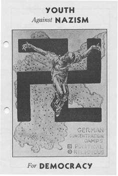 The Hollywood Anti-Nazi League for the Defense of American Democracy sponsored an educational committee which produced this booklet, circa 1937. The cover features a grim and powerful illustration of an individual being crucified on a swastika. This is superimposed over a map of Germany, including symbols denoting concentration-camp locations. Jewish Federation Council of Greater Los Angeles Collection. In Our Own Backyard: Resisting Nazi Propaganda in Southern California, 1933-1945.