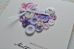 Handmade Beautiful Mothers day card - heart made from buttons personalised