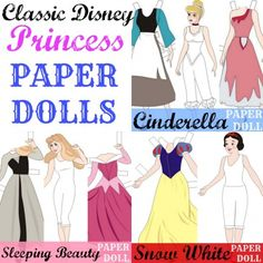 Classic Disney Princess Paper Dolls - do you sponsor a little girl? She might like these Princess Paper Dolls #princess #paperdolls