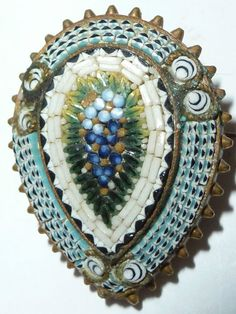 Art Deco Micro Mosaic Brooch forget me now flower Pin