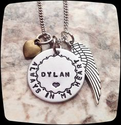 Memorial Necklace, Always In My Heart, Mom-Dad-Husband-Daughter-Son-Brother-Sister-Loss of loved one-Remembrance Jewelry-Sympathy Gift