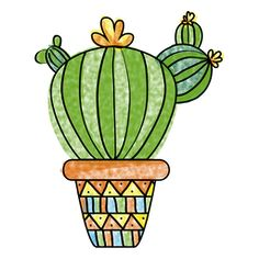 acuarela dibujado olla de múltiples cactus mano