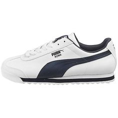 Puma Roma Basic Mens 353572-12 White Navy Athletic Shoes Casual Sneakers Sz 9.5
