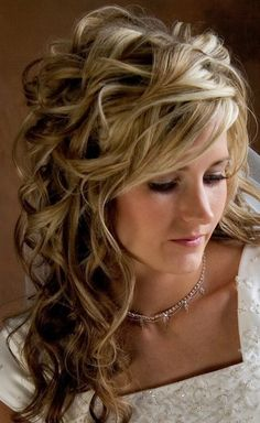 Beautiful Long Wavy Curly Hairstyle for Wedding