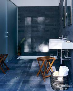 Vola fixtures Duravit sinks Luxury Bathroom Designs and Ideas - Luxury Bathrooms Photos - ELLE DECOR