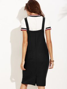 Ribbed Dungaree Dress With Pocket -SheIn(Sheinside) Long Dress Fashion, Fashion Dresses, High Fashion, Womens Fashion, Winter Leggings, Uggs, Dungaree Dress, Overall Dress, Japanese Fashion