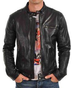 New Men's Genuine Lambskin Leather Jacket Black Slim fit Motorcycle jacket #AriesLeathers #Motorcycle