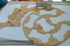 Homemade Dog Bone Shaped Tortilla Chips for Girl's Puppy Dog Birthday Party   Good Tastes Tuesday Link Party