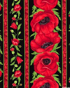 Garland Poppy Stripe fabric from eQuilter