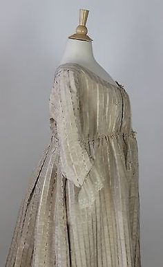 MET Museum~ Unusual Gown, White Moire, Polychrome Floral Stripes, America c.1795