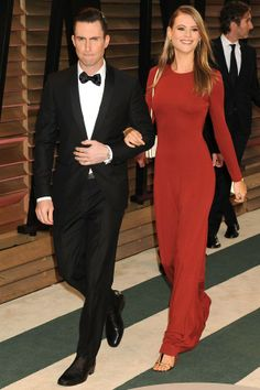 Vanity Fair after-party – March 2 2014  Adam Levine - in head-to-toe Salvatore Ferragamo - and fiancée Behati Prinsloo.