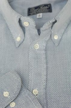 David Saddler Roma $275 Light Blue Wicker Weave Cotton Casual Shirt XL XLarge #DavidSaddler #ButtonFront