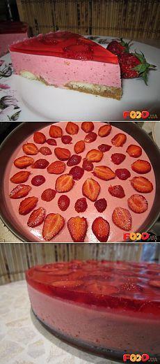Творожно-клубничный тортик без выпечки