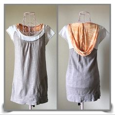 FREE PEOPLE Hooded T  EUC, racerback design in back, slit front pockets, very cute and comfortable, body 100% cotton, neck & hoodie 60% cotton, 40% polyester, size small, colors are gray, white, and light orange Free People Tops Sweatshirts & Hoodies