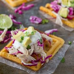 Chipotle-Cornmeal Waffle Tostadas -- I believe you could replace all purpose flour with a GF.  Exciting concept!