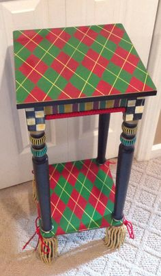 READY TO SHIP Hand Painted Argyle Table side by paintingbymichele, $199.00