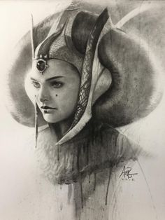 Queen Amidala Charcoal Portrait - Created by Stanley Lau / Star Wars Star Wars Padme, Amidala Star Wars, Queen Amidala, Star Wars Fan Art, Star Wars Ring, Chevalier Jedi, Stanley Lau, Charcoal Portraits, Desenho Tattoo