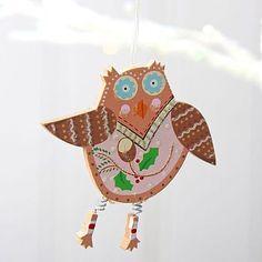 Owl Wooden Hanging Decoration Pinned by www.myowlbarn.com