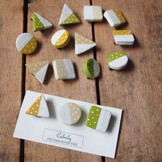陶土*まるさんかくしかく水玉ブローチセット c   ハンドメイド、手作り作品の通販 minne(ミンネ)
