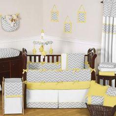 Zig Zag Yellow Gray Bedding By Jojo Designs Baby Crib Zigzag