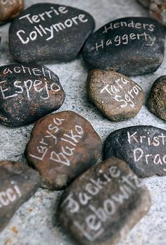 Forget hand etched! Use a fine metalic paint pen to customize and decorate for seating. guests. Hand etched rock. Rustic Wedding Favors and Wedding Party Gifts | Brides.com