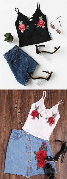 Rose Embroidered Patch Lace Up Ribbed Cami Top