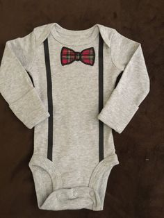 Infant Boy Onesie with Bowtie Applique abd Suspenders by MarysCottonShoppe on Etsy
